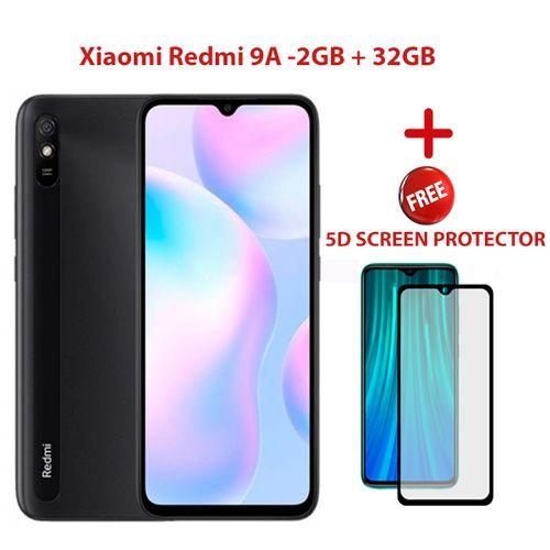 "Redmi 9A 6.53"" 2GB + 32GB ( Dual Sim) 4G LTE+FREE 5D SCREEN PROTECTOR- Gray"