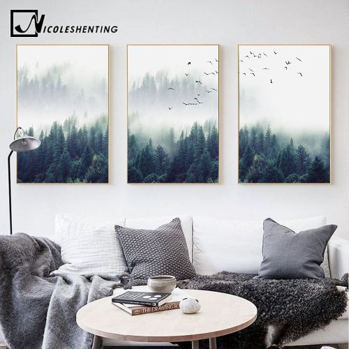 5Pcs Unframed Waterfall Forest Abstract Canvas Printed Painting Home Wall Decor