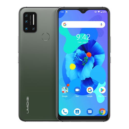 A7-4GB+64GB-6.49''-Android 10-16MP+8MP+5MP+5MP-16MP-4150 MAh-Triple Slots-Green