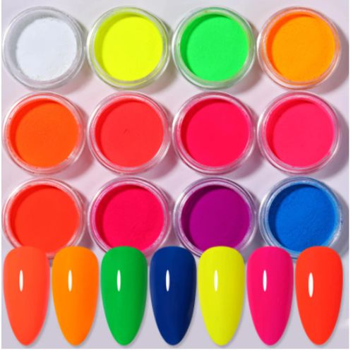 12PCs Acrylic Fluorescent Powder, Luminous- Assorted