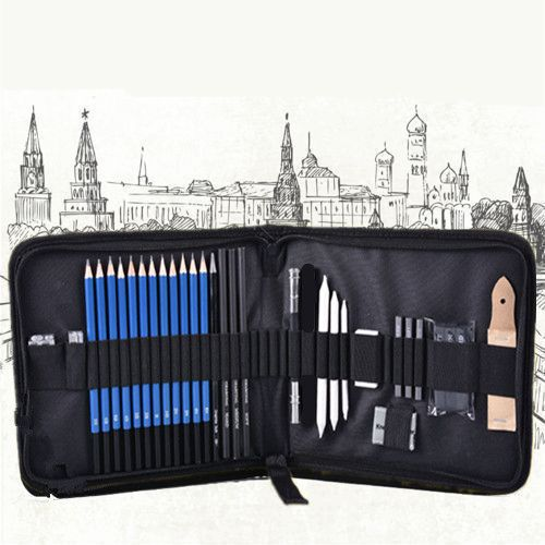 Sketching Pencils Drawing and Sketch Kit Set with Erasers Charcoal Stick Sharpener