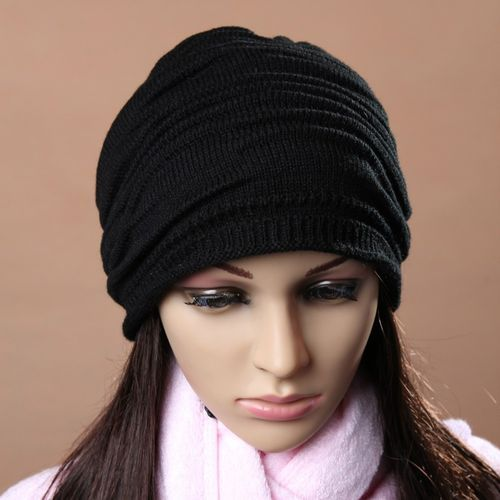 product_image_name-Fashion-Wenrenmok Store Unisex Men Women Winter Hat Baggy Beanie Knit Crochet Ski Slouch Cap BK-Black-2