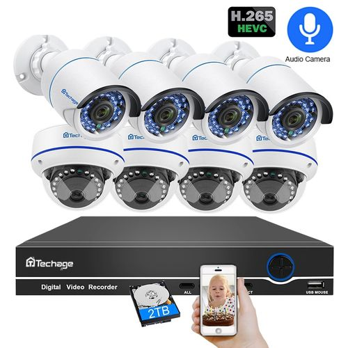 Techage 8CH POE 1080P Security NVR Sets 2MP Audio Sound CCTV Camera System Dome Bullet Indoor Outdoor Surveillance Kits 2TB HDD (2T)