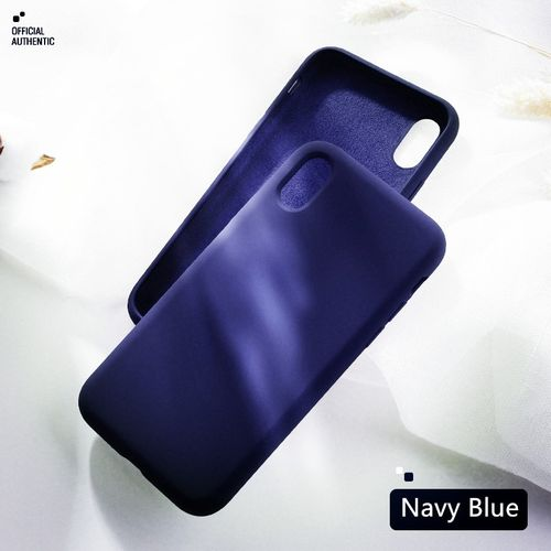 Official Liquid Silicone Phone Case for iphone X XS MAX XR 7 8 6 6S Plus Soft Gel Rubber Shockproof Cover Full Protective Case(Navy Blue)