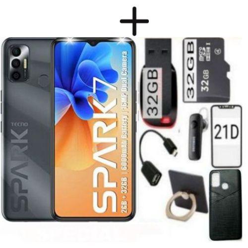 "Spark 7, 6.5"", 32GB/2GB-RAM-(Dual SIM)-5000mAh-BLACK+FANCY FLASH MEM GIFTS"