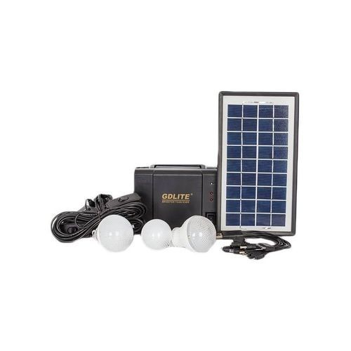 GDLITE Home Solar Lighting System Kit With 3 LED Lights, Solar Panel, Power Cable And Multiple Phone Charger