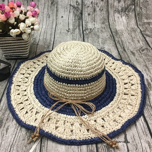 product_image_name-Fashion-Women Outdoor Summer  Handmake Woven Sun Protection Wide Brimmed Floppy Hat Hollow Out Cap-2