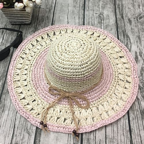 product_image_name-Fashion-Women Outdoor Summer  Handmake Woven Sun Protection Wide Brimmed Floppy Hat Hollow Out Cap-7