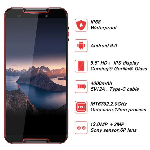 Quest 5.5-Inch (4GB+64GB) Android 9.0 8MP+12MP Smartphone -Red-Black