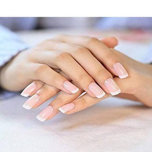 24 Pcs/set French Nails Nail Art Pre-design Acrylic Fake Nail Classical Full Cover Short Whi