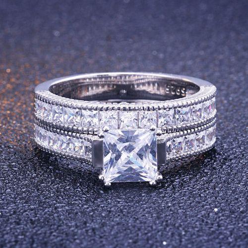 Ringsun Sterling 925 Silver Engagement Double Rings @ Best