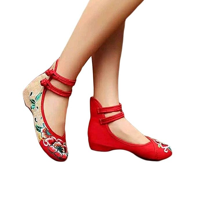 Fashion Ladies Flat Shoes- Red @ Best