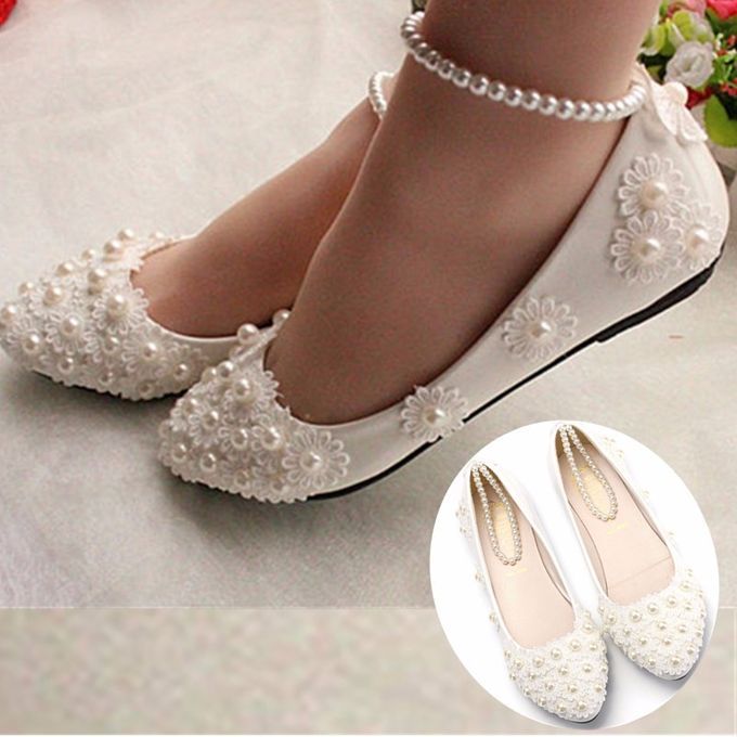 Women Bridal Lace Wedding Shoes Flats Pointed Slip On White