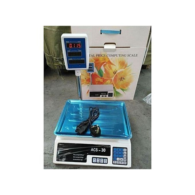 ACS Commercial ACS 30kg Electronic Price Computing Digital Weighing Scale with 1g Precision and Counting Feature