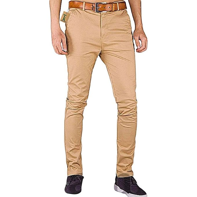 get online exceptional range of styles the cheapest Soft Khaki Men's Trouser Stretch Slim Fit Casual- Beige