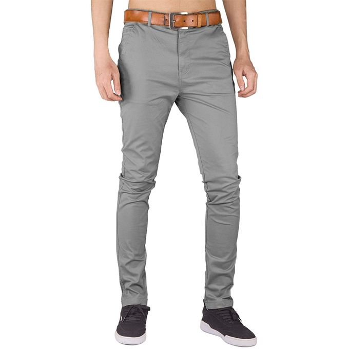 best choice good looking world-wide renown Soft Khaki Trouser Stretch Slim Fit Casual- Light Grey