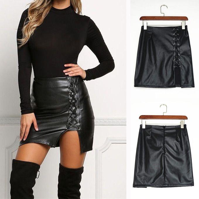 select for original stylish design shop for best jiahsyc store Fashion Women Solid Bandage Short Skirt High Waist Faux  Leather Mini Skirt-Black