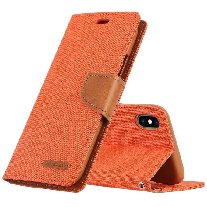 Mercury Goospery Canvas Diary Denim Texture Horizontal Flip Leather Case For Iphone Xs Max With Holder Card Slots Wallet Orange