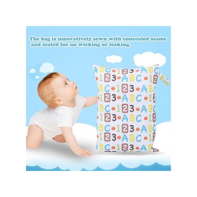 Shoze Waterproof Infant Zip Wet Dry Bag Cloth Diaper Organiser Bag for Baby Cloth Diaper Nappy Pouch Reusable Blue Monkeys