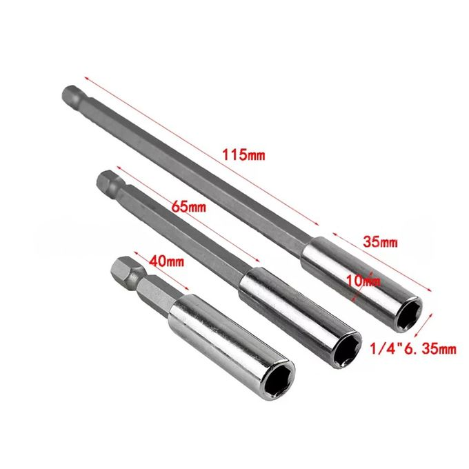 3PCS Hex Quick Release Screwdriver Electric Drill Bit Holder Extension Rod Tool