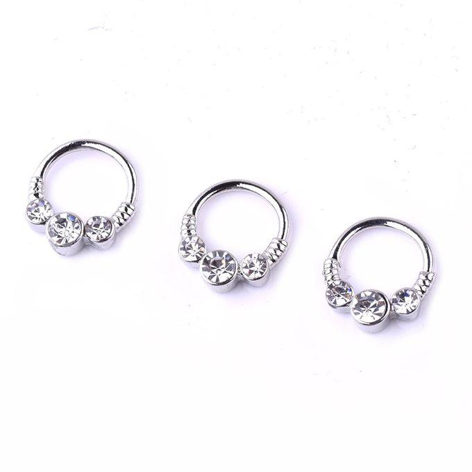 Generic Stainless Steel Nose Ring Hoop Rhinestone Stud Body