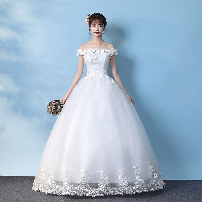 Princess Lace Beach Wedding Dress Ball Gown White