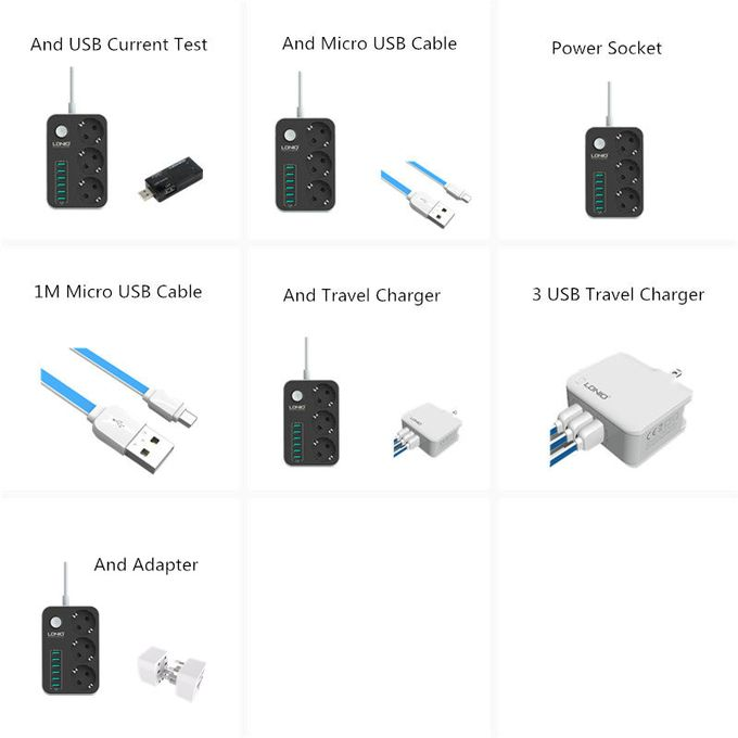 Surge Protector 3 EU Outlet Extension Power Socket 6 USB Wall Charger Adapter
