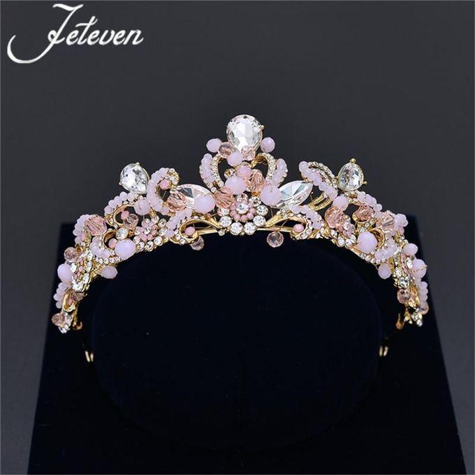 New Fashion silver high quality pink color rhinestone crystal flowers headband