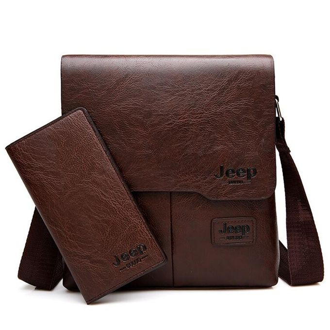 Generic 2 Set Men Leather Shoulder Bags Money Wallet Business Male Carossbody Handbag Brown