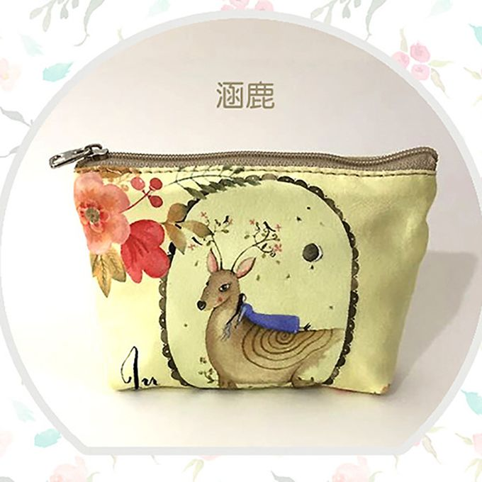 Case Women Change Pouch Key Holder Animal Printed Canvas Coin Purse