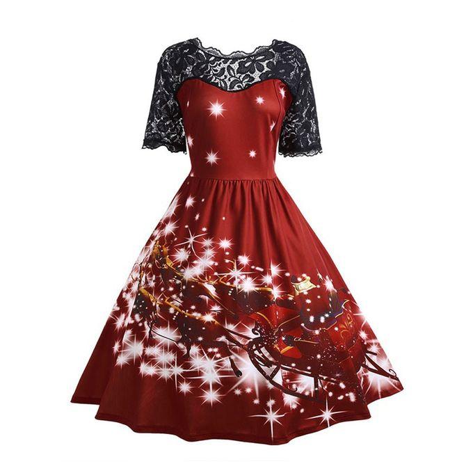 Christmas Party Dress.Xiuxingzi Womens Christmas Party Dress Ladies Vintage Xmas Swing Lace Dress