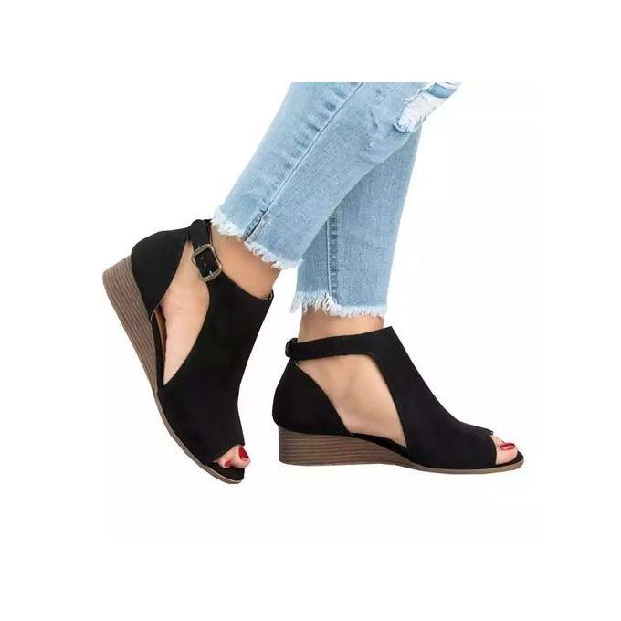 Women Shoes - product_image_name-Fashion-Ladies Open Toe Wedge Shoes- Black-1