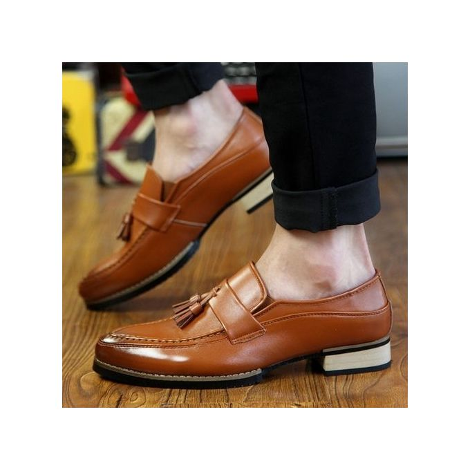 Men\u0027s Genuine Leather Formal Shoes Business Casual Shoes Slip,On Brown