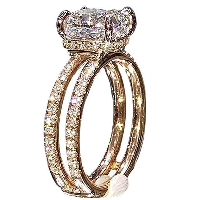Fashion 18K Gold Double Layer Diamond Crown Ring Princess