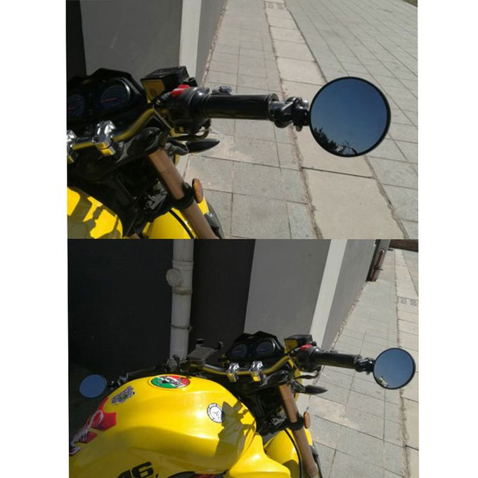"""Black Motorcycle Round 7//8/"""" Bar End Rearview Side Mirrors For Bobber Cafe Racer"""