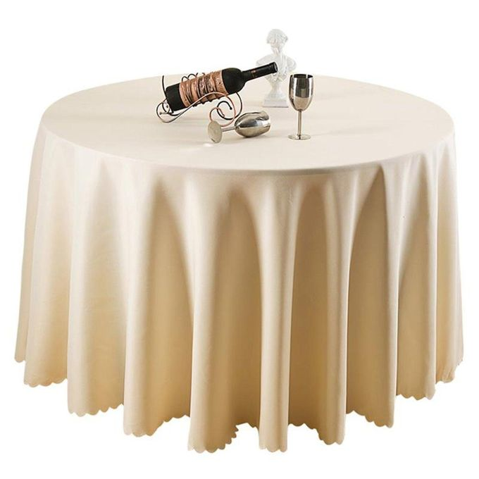 Best Banquette Online: Generic Beige Round Polyester Tablecloth Wedding Party
