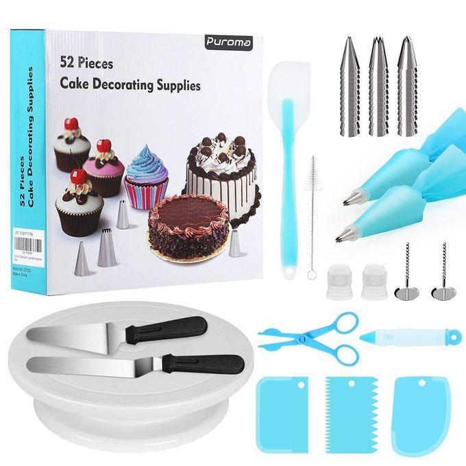52Pcs Multi-function Cake Decorating Kit Cake Turntable Set Pastry Tube  Fondant Tool Kitchen Dessert Baking Pastry Supplies