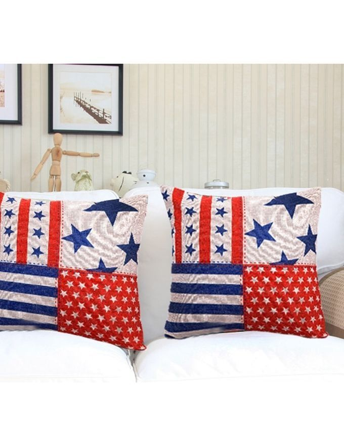 Throw Pillow Jumia : Ovonni Q148 - Stars and Stripes 18 Inch Square Linen/Cotton Throw Pillow Buy online Jumia Kenya