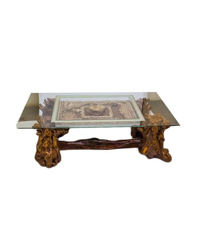ART & WISDOM Ocean Life Coffee Table - Beige & Brown