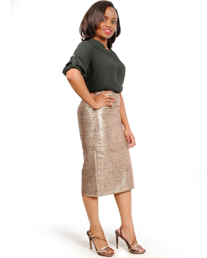 THE FASHION FRENZY Gold Jacquard Skirt