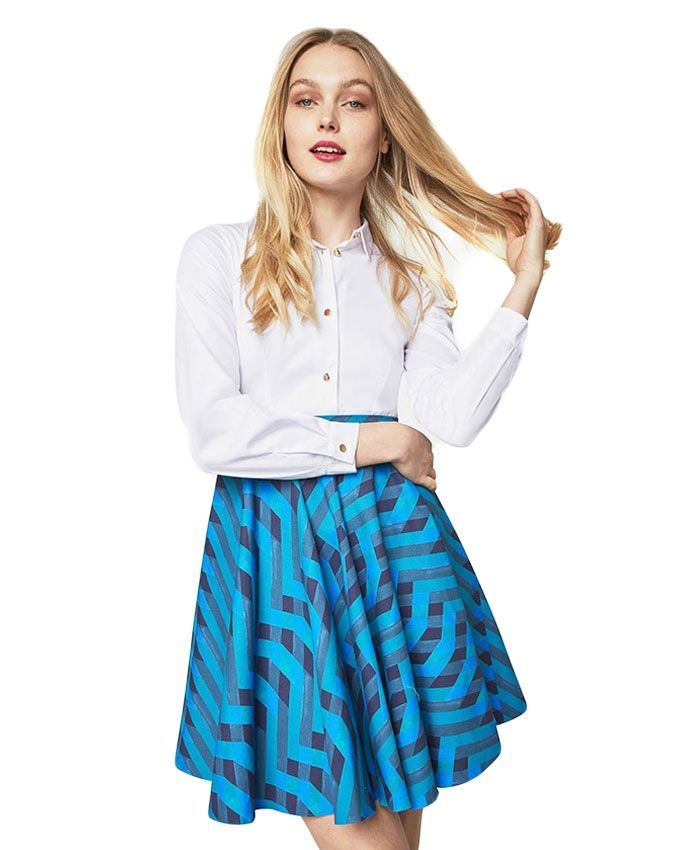 Ms Fabulous Kollexions White Amp Blue 2 In 1 Shirt Skirt Skater Dress Buy Online Jumia Kenya