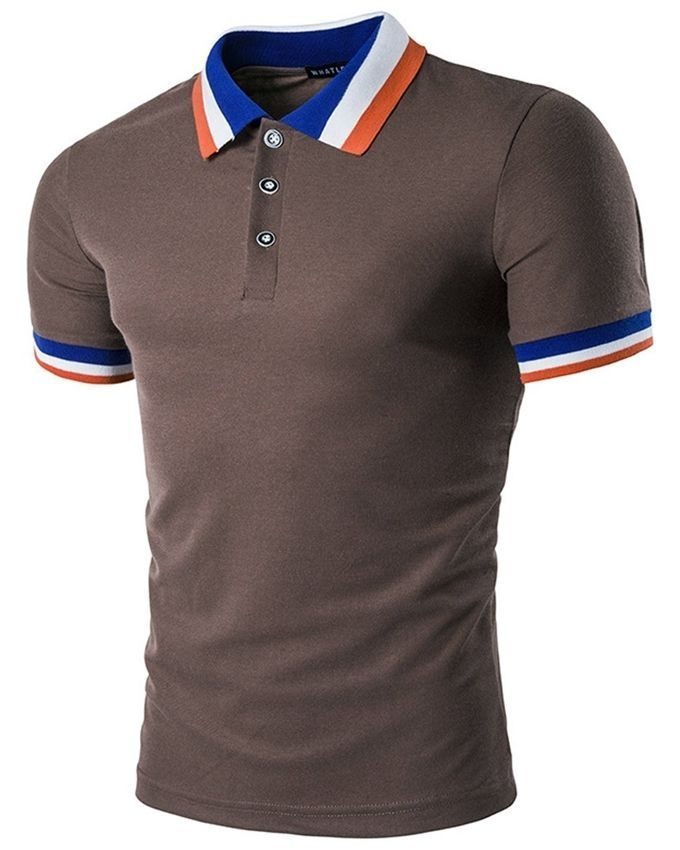 Fashion color block collar polo t shirt coffee buy for Polo color block shirt