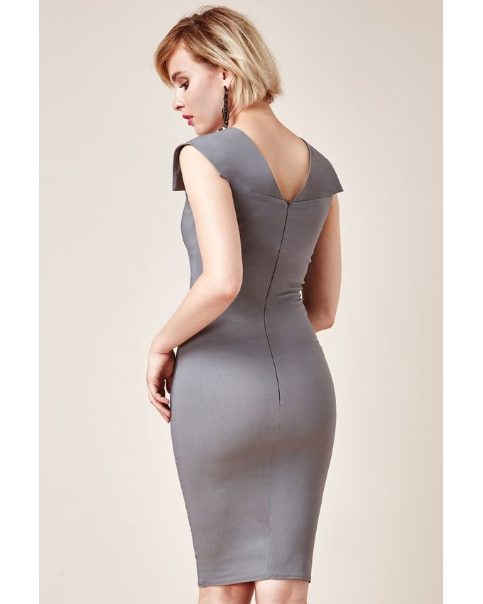Ms Fabulous Kollexions Grey Pleated Fitted Midi Dress Buy Online Jumia Kenya