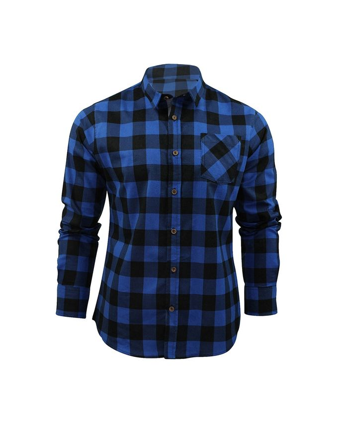 Fashion plaid long sleeve shirt blue black buy for Buy plaid shirts online