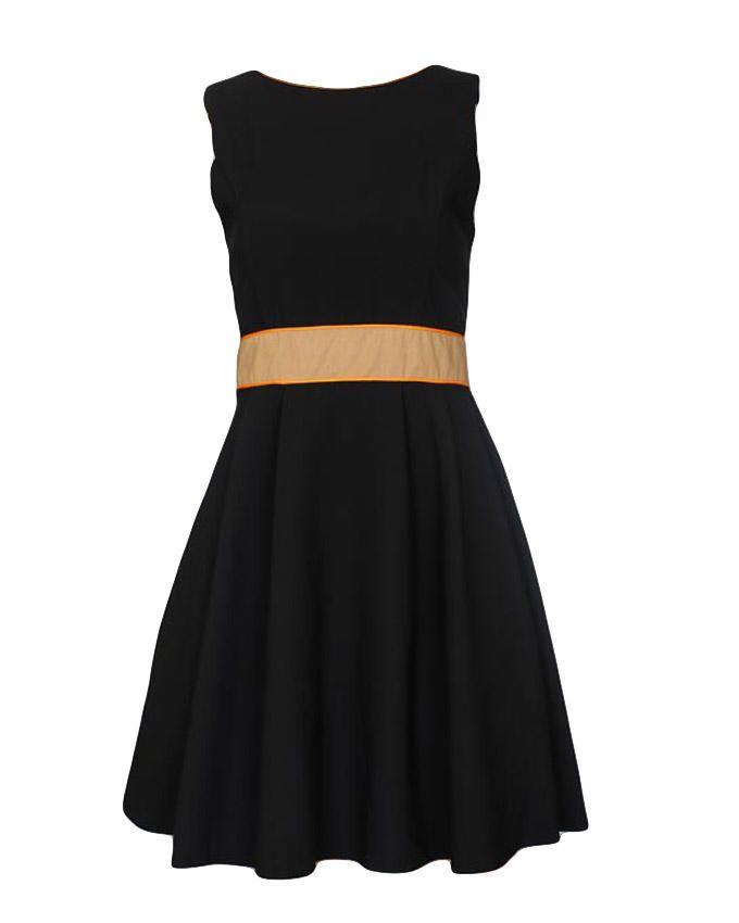 The Fashion Frenzy Black Skater Dress With Orange Accents Buy Online Jumia Kenya