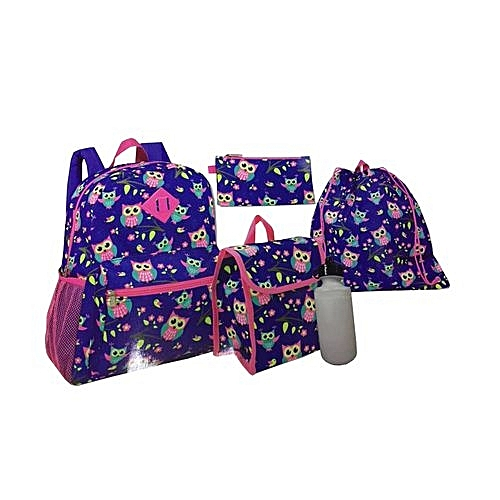 d9dfe85a9433 Generic 5 Piece Kids Back to School Bag Set Medium (14 Inch Backpack ...