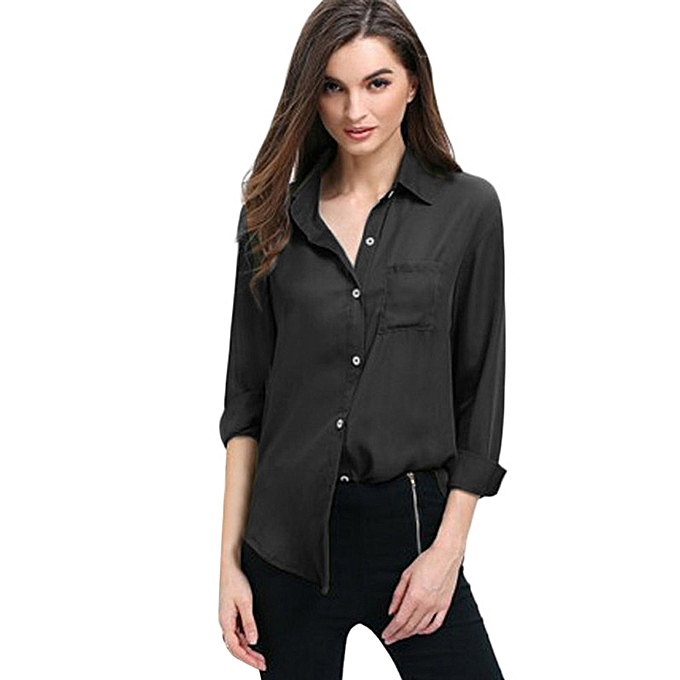6e5b4131a Womens Blouse Chiffon Long Sleeve Ladies OL T Shirt Casual Pocket Loose  Tops ...