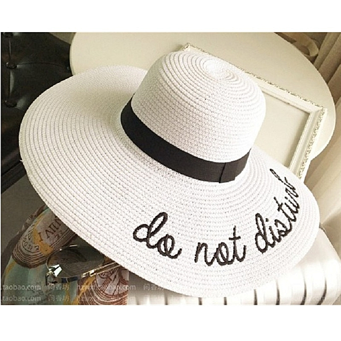 Summer Womens Wide Brim do not diaturb Sun Hat Embroidery Straw Cap Floppy  Foldable Roll up Cap Beach Sun Hat(White)