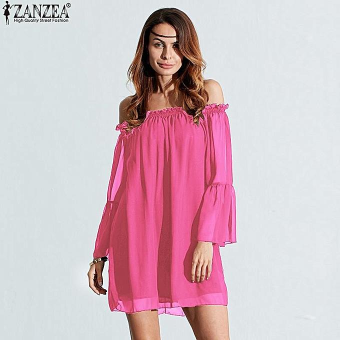 9bf0298e884a4 ... Top Plus Size Rose Red · ZANZEA Oversized Women Blouse Dress Off  Shoulder Flare Sleeve Loose Long Chiffon Blusas Shirts Sexy Casual
