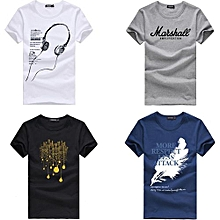 4b3fe427 4 Pcs Men's Summer Fashion Cotton Short Sleeve Cartoon Printed Young  Men